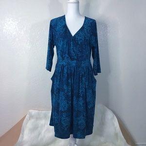 TORRID 3X Blue Faux Wrap Dress